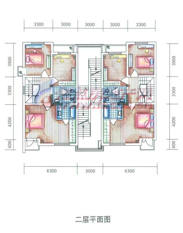 大通绿岛家园别墅二层平面图