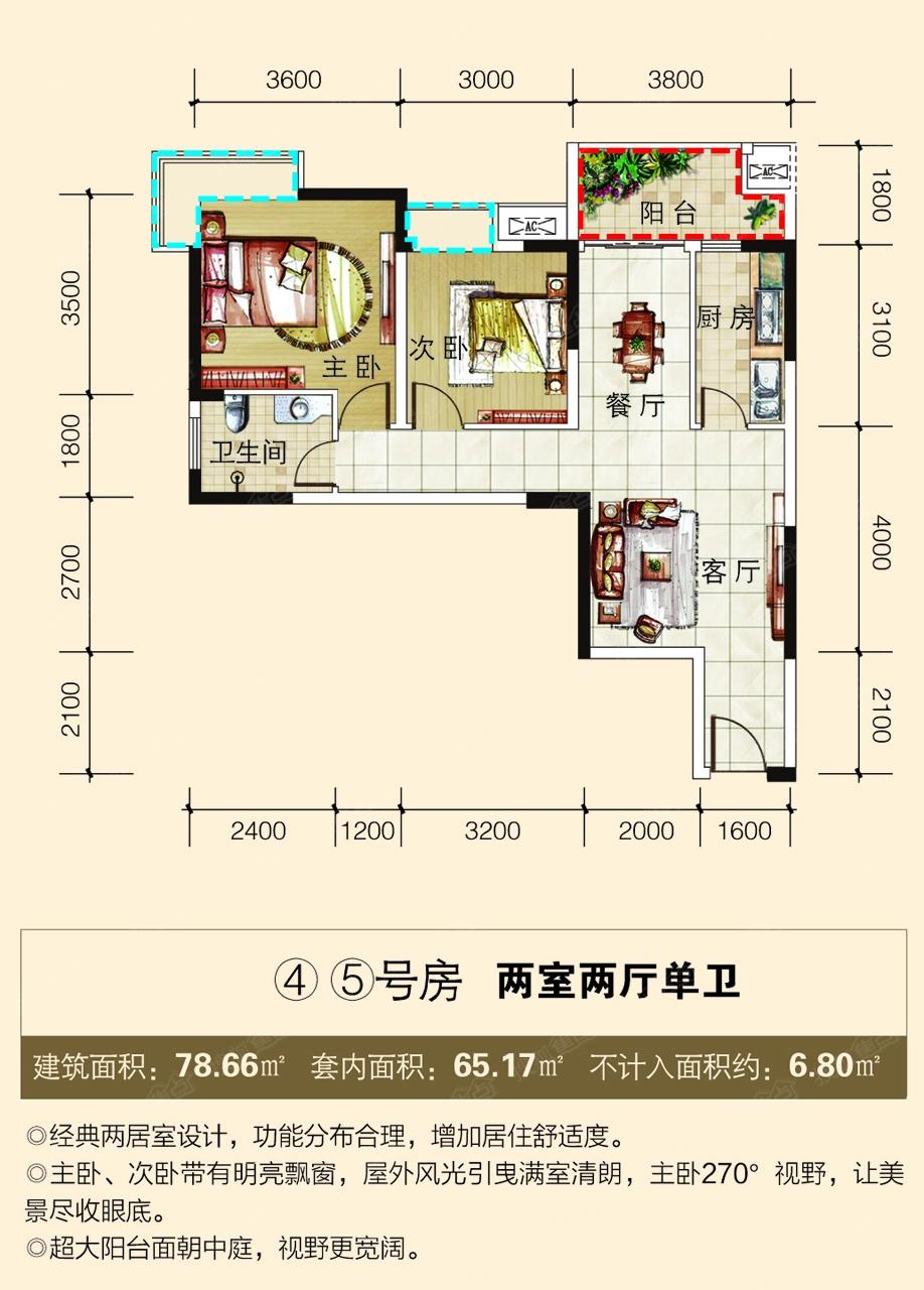 7平米(使用率82%) 户型解析: 卧室:卧室带飘窗,主卧270°转角飘窗