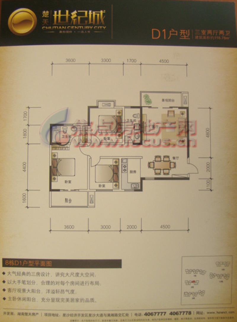 楚天世纪城d1三房两厅两卫118.78平米户型