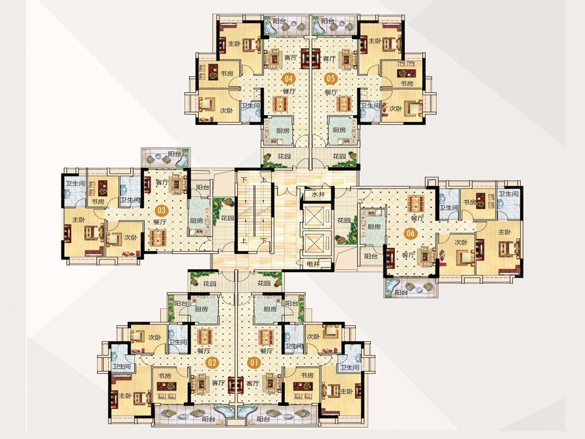 阳台:双阳台设计,工作阳台实用,观景阳台增强室内通风采光,引景入厅.