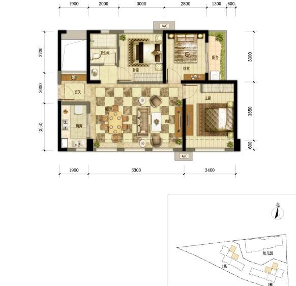 万科翡丽郡花园1,2栋b户型图 约88㎡三房两厅一卫