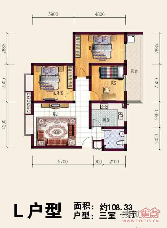 建筑面积108.33平米三室一厅一厨一卫i