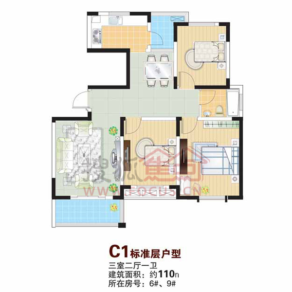 富城湾 三室两厅一卫 110平方米 c1标准层户型