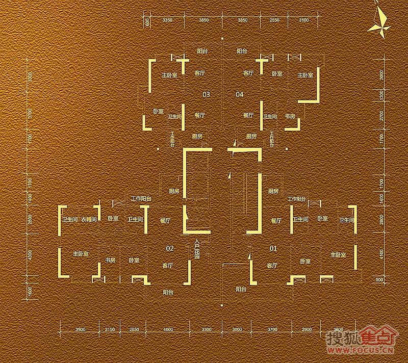 贵贤上品a3-4-28楼标准层平面图