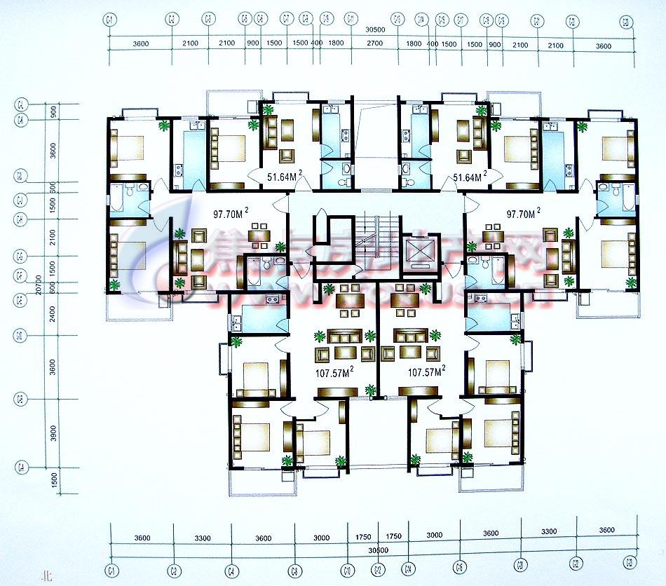 海荣阳光城金色半岛6号楼1单元层平面_海荣阳光城户型
