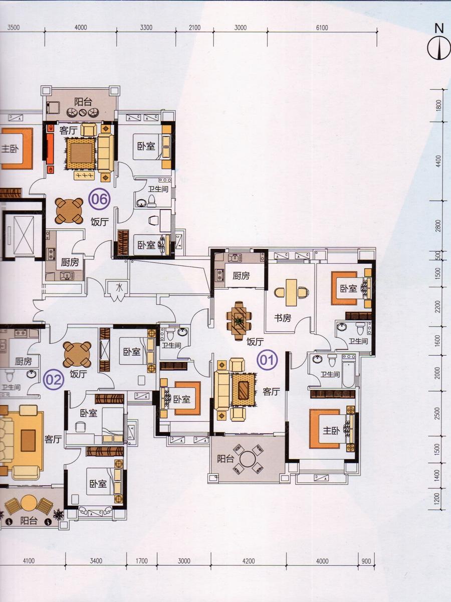 户型解析: 卧室:三房设计,户型方正,极致实用