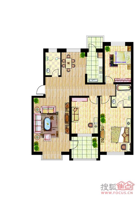 锦绣花园锦绣花园 三室两厅一卫 a2_锦绣花园户型图