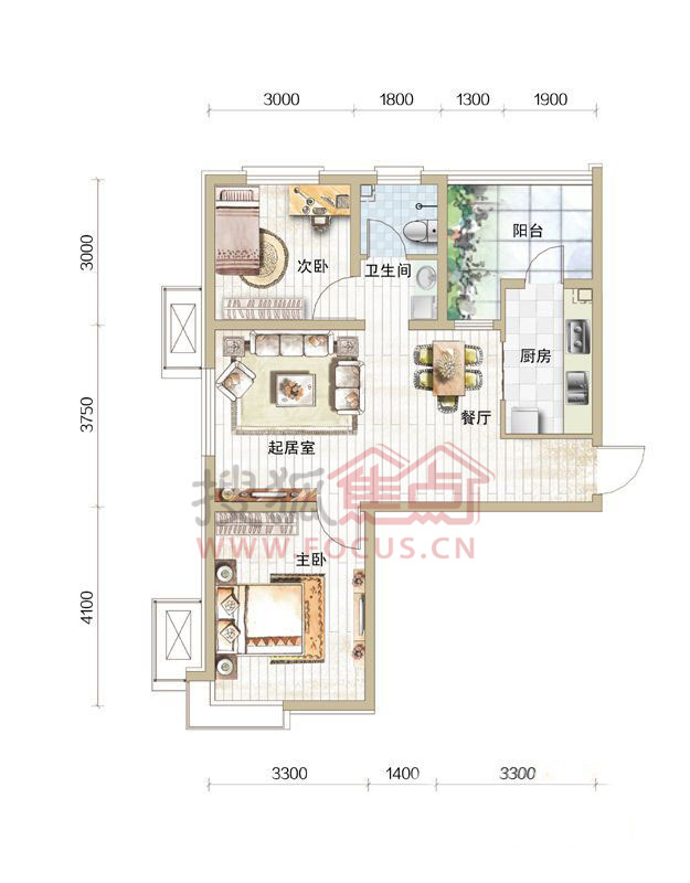 天房彩郡二期高层标准层两室户型图