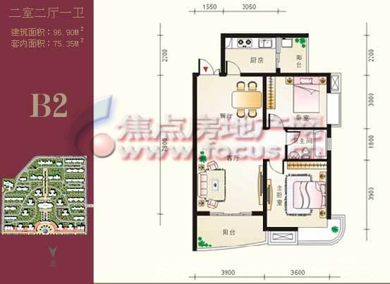 巴黎豪庭b2两室两厅两卫96.90平米