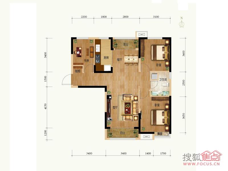 夏洛兹花园c2户型3室2厅1卫101.00㎡