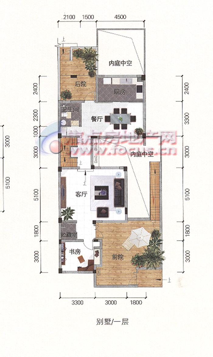 金地国际花园th2-101叠拼别墅 196平米 一层
