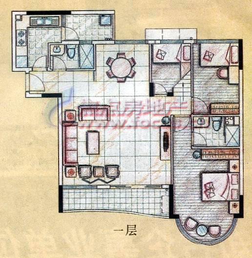 """逸景翠园典藏复式""""园丁之家""""单元一层平面户型"""