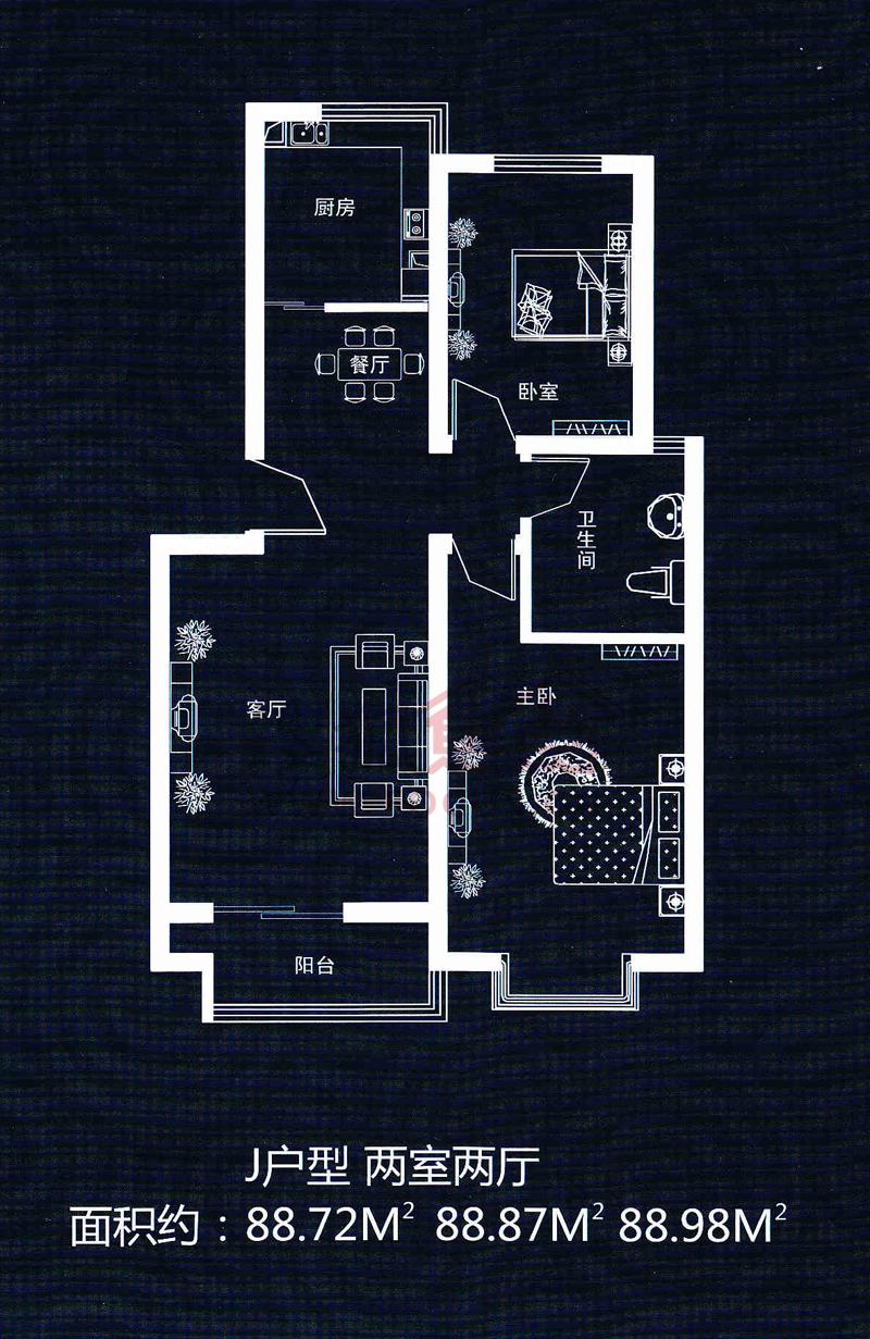 正商世纪港湾两室两厅一卫_正商世纪港湾户型图-郑州