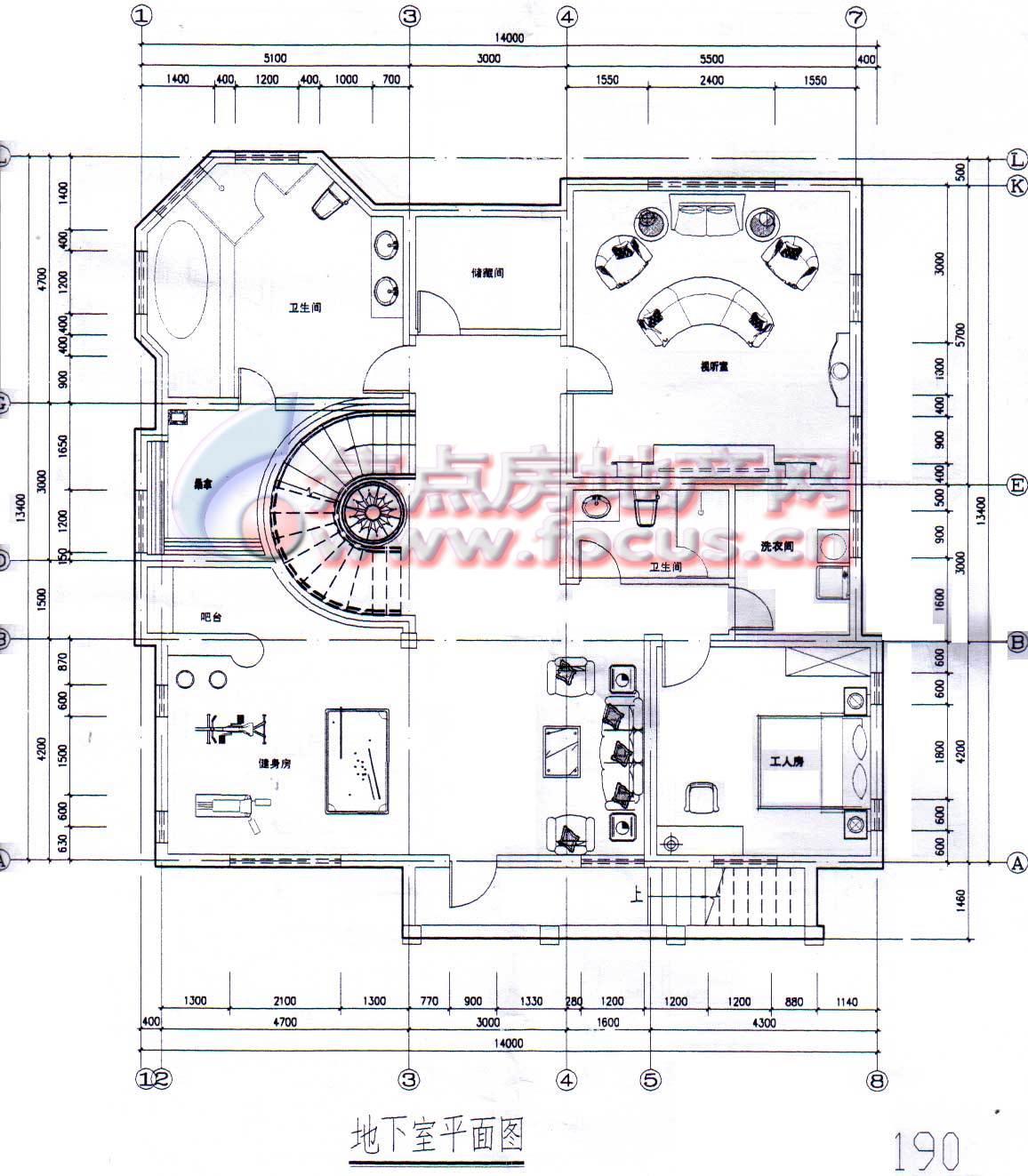 八仙別墅地下室平面圖