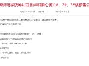 预售公示:华润昆仑御1#、2#、3#楼获预售证