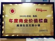 汇景集团雁湖生态文旅小镇斩获2018衡阳年度商业价值楼盘荣誉