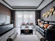 128㎡新中式,客厅超有档次,配上黑色皮沙发,特别时尚