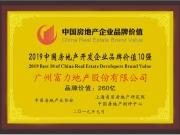 富力集团蝉联2019中国房地产开发企业品牌价值10强