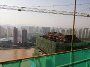 河景写字楼雏形已现 天庆山河一品写字楼主体工程封顶