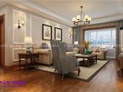 济南绿地城125平三室两厅美式风格效果图