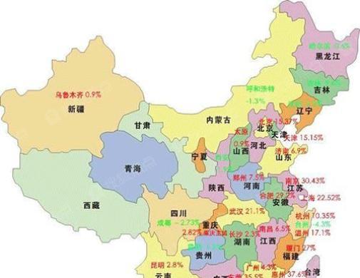 中国房价涨跌分布图:下半年房产投资必需品
